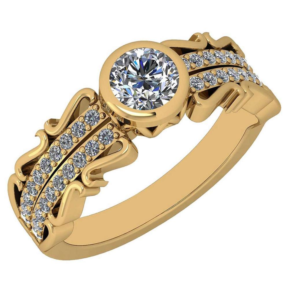 Certified 0.82 Ctw Diamond VS/SI1 18K Yellow Gold Halo Ring #IRS25598