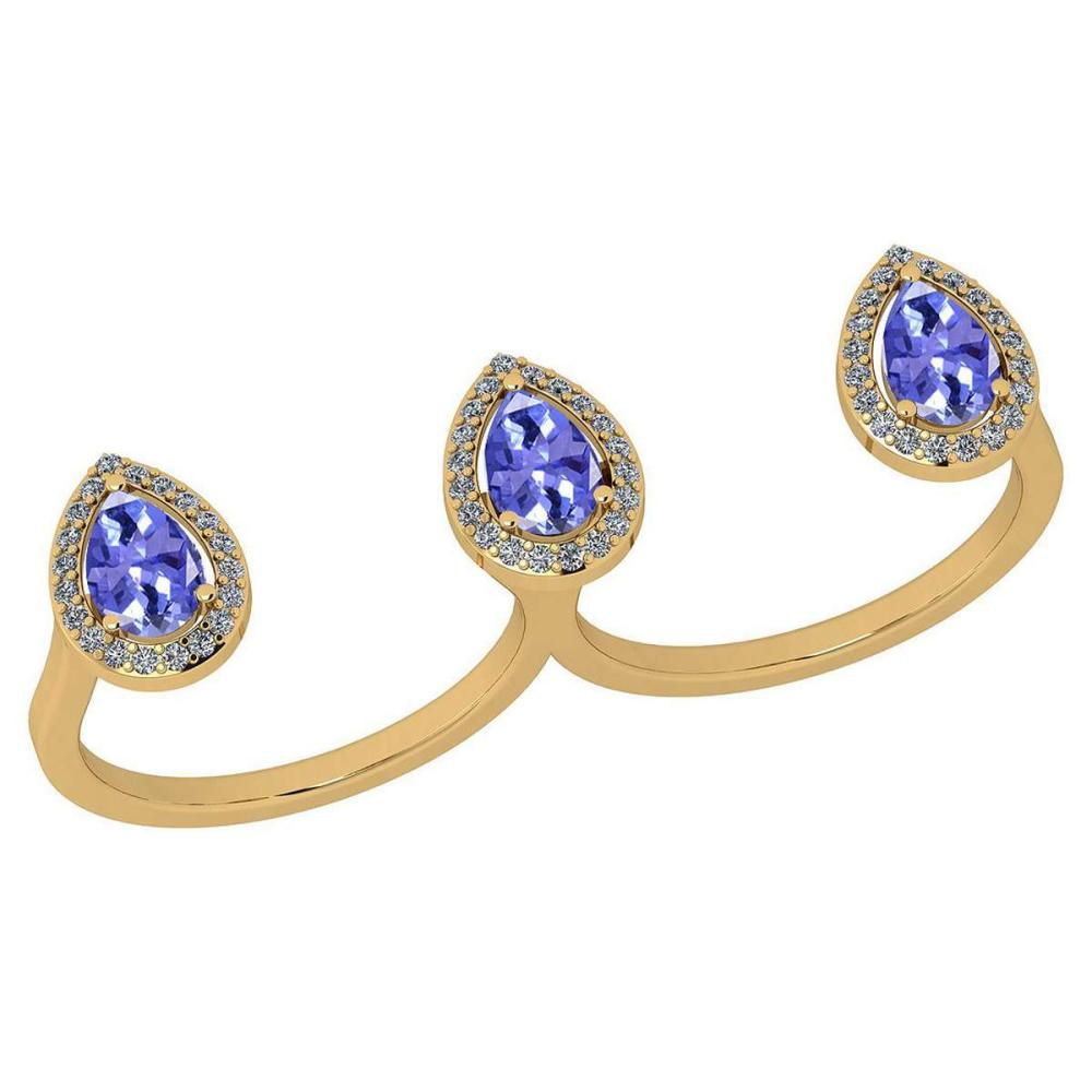 Certified 1.80 Ctw Tanzanite And Diamond VS/SI1 2 Finger 10K Yellow Gold Ring #IRS27951