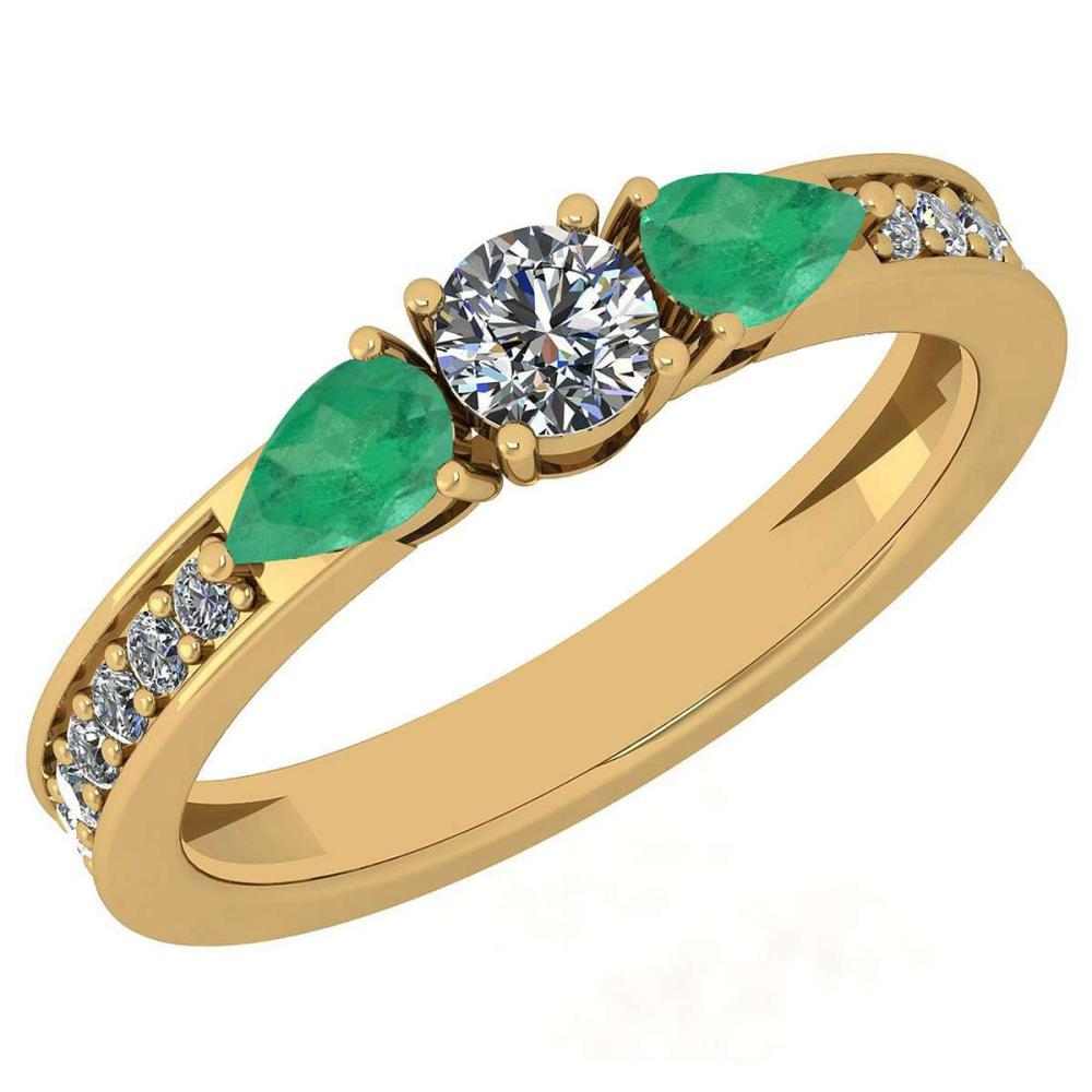Certified 0.95 Ctw Emerald And Diamond VS/SI1 18K Yellow Gold Ring #IRS27999