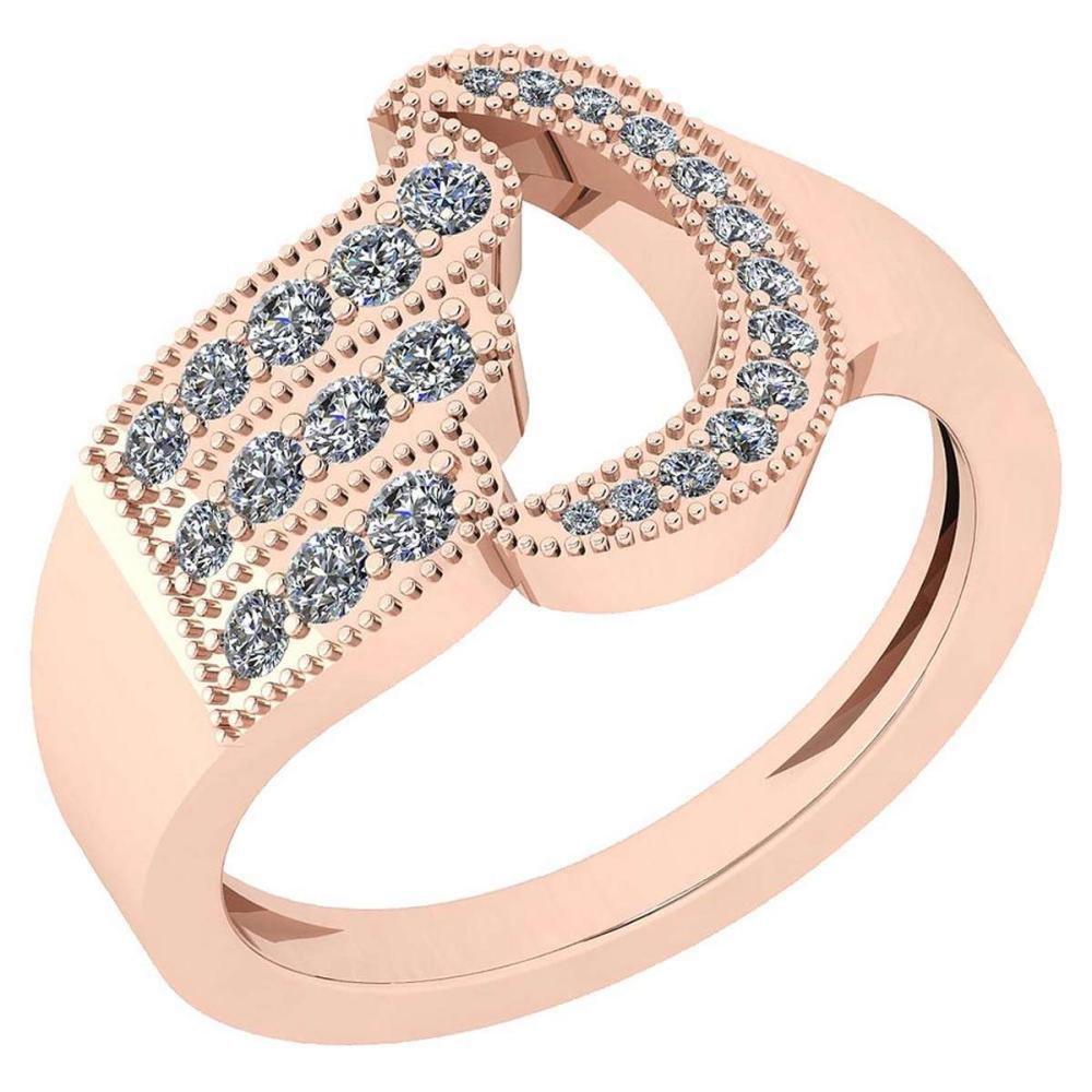 Certified 0.56 Ctw Diamond VS/SI1 14K Rose Gold Ring #IRS24694