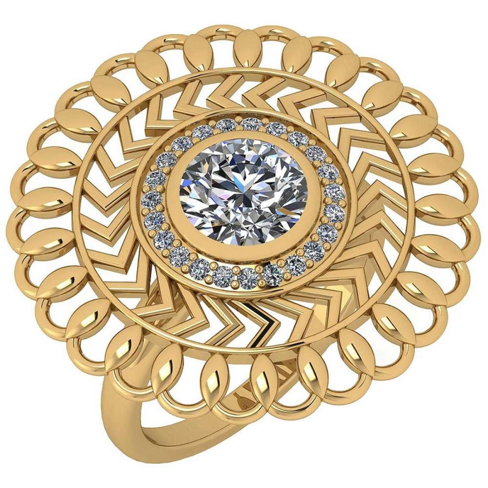 Certified 1.43 Ctw Diamond SI2/I1 Filigree Style 18K Yellow Gold Ring #IRS25628