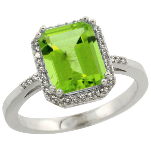 10K White Gold Diamond Natural Peridot Ring Emerald-cut 9x7mm, sizes 5-10 #15345v3