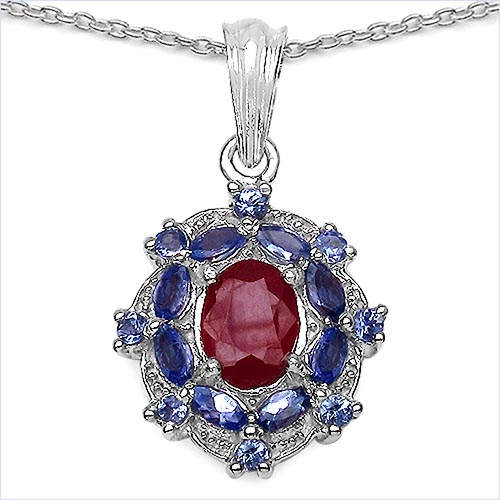 Ruby Glass Filled:Oval/9x7mm 1/2.51 ctw + Tanzanite:Marquise/4x2mm 8/0.64 ctw + Tanzanite:Round/2.00mm 8/0.28 ctw #33681v3