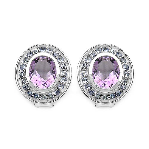 Amethyst:Oval/10x8mm 2/4.30 ctw + Tanzanite:Round/1.80-1.90mm 40/1.20 ctw #29201v3