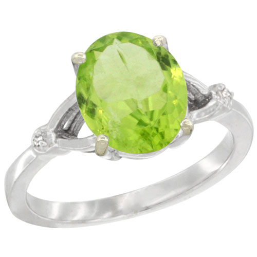 10K White Gold Diamond Natural Peridot Ring Oval 10x8mm, sizes 5-10 #15338v3
