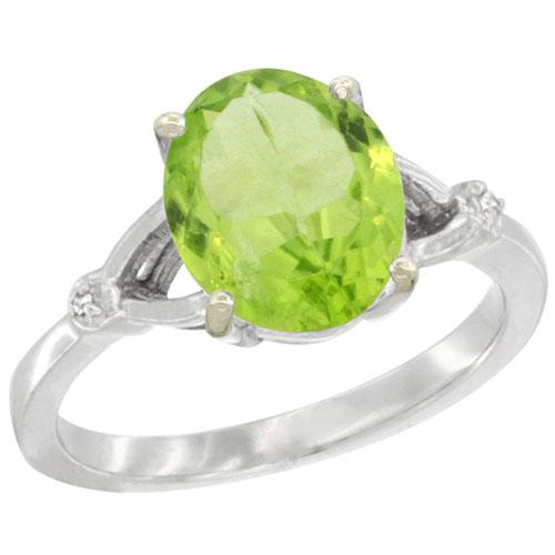 10K White Gold Diamond Natural Peridot Ring Oval 10x8mm, sizes 5-10 #15338v3