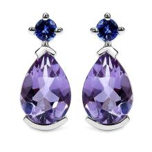 Amethyst:Pears/10x7mm 2 /2.70 ctw + Tanzanite:Round/3.00mm 2 /0.20 ctw #29135v3