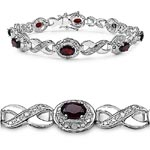 Diamond White:Round/1.30mm 12/0.13mm + Garnet:Oval/6x4mm 8/4.80 ctw #28974v3