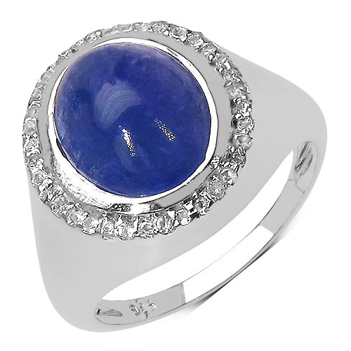 Tanzanite:Oval/11x9mm 1 /3.10 ctw + Topaz White:Round/1.00mm 36 /0.18 ctw #33776v3