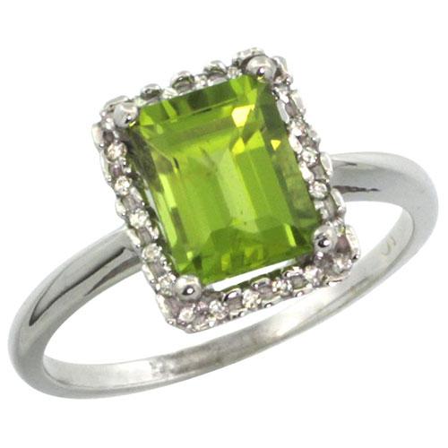 10K White Gold Diamond Natural Peridot Ring Emerald-cut 8x6mm, sizes 5-10 #15346v3