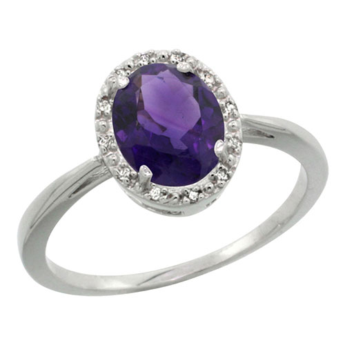 14K White Gold Natural Amethyst Diamond Halo Ring Oval 8X6mm, sizes 5-10 #15144v3
