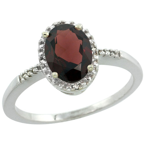 10K White Gold Diamond Natural Garnet Ring Oval 8x6mm, sizes 5-10 #15286v3