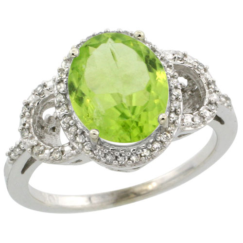 10K White Gold Diamond Halo Natural Peridot Ring Oval 10X8 mm, sizes 5-10 #15344v3