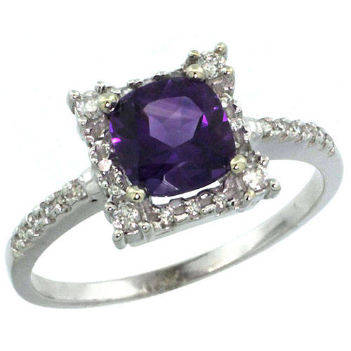 14K White Gold Natural Amethyst Ring Cushion-cut 6x6mm Diamond Halo, sizes 5-10 #15165v3