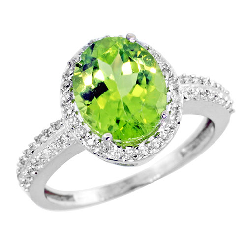 10K White Gold Diamond Natural Peridot Ring Oval 10x8mm, sizes 5-10 #15354v3