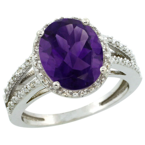 14K White Gold Natural Amethyst Diamond Halo Ring Oval 11x9mm, sizes 5-10 #15149v3