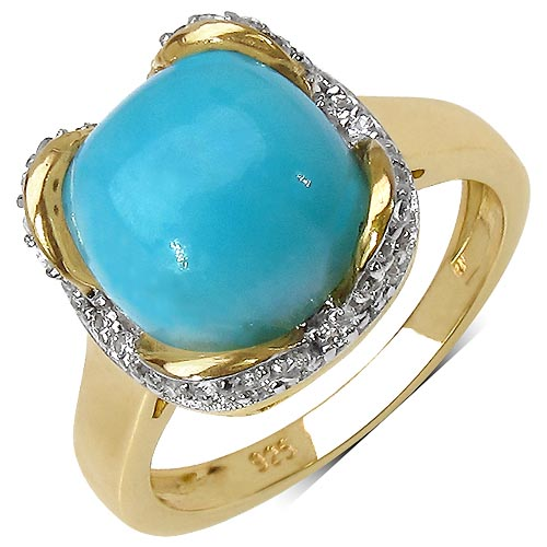 Larimar:Cushion/ 9.00mm 1 /2.65 ctw + Topaz White:Round/1.00mm 46 /0.23 ctw #33774v3
