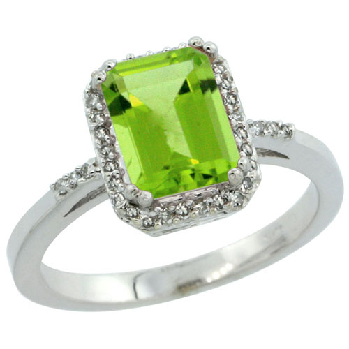 10K White Gold Diamond Natural Peridot Ring Emerald-cut 8x6mm, sizes 5-10 #15350v3