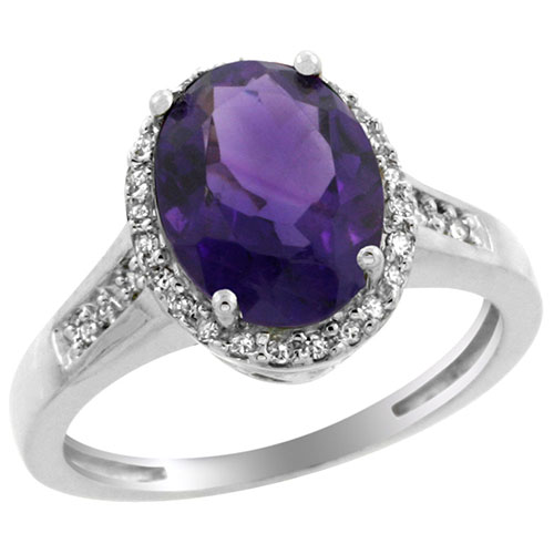 14K White Gold Diamond Natural Amethyst Ring Oval 10x8mm, sizes 5-10 #15152v3