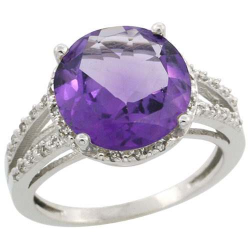 14K White Gold Diamond Natural Amethyst Ring Round 11mm, sizes 5-10 #15153v3
