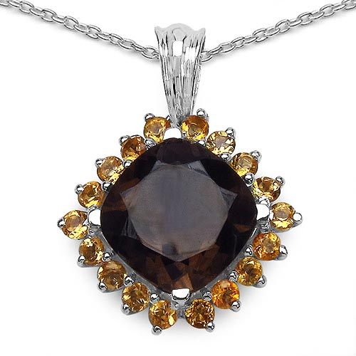 Topaz Smoky:Cushion/12.00mm 1/6.23 ctw + Citrine:Round/2.50mm 18/1.26 ctw #29380v3