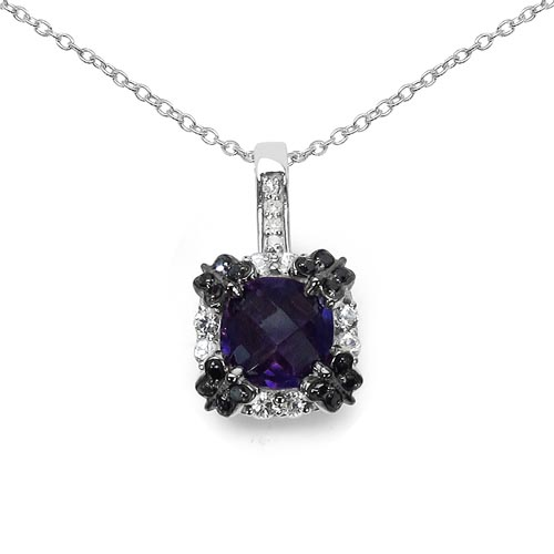 Amethyst:Cushion/8.00mm 1/1.80 ctw + Sapphire White:Round/2.00mm 8/0.40 ctw + Diamond White:Round/1.20mm 8/0.07 ctw + Diamond Black:Round/1.10mm 16/0.11 ctw #29416v3
