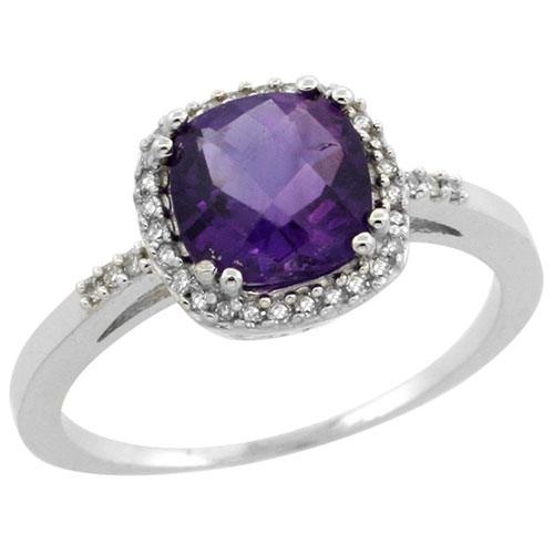 14K White Gold Diamond Natural Amethyst Ring Cushion-cut 7x7mm, sizes 5-10 #15166v3