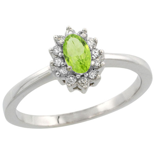 10k White Gold Natural Peridot Ring Oval 5x3mm Diamond Halo, sizes 5-10 #15342v3