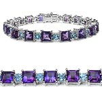 Amethyst:Square/6.00mm 18/18.00 ctw + Topaz Blue:Round/4.00mm 18/5.76 ctw #29022v3