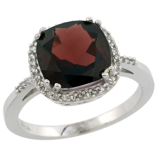 10K White Gold Diamond Natural Garnet Ring Cushion-cut 9x9mm, sizes 5-10 #15293v3