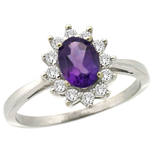 14K White Gold Natural Amethyst Ring Oval 7x5mm Diamond Halo, sizes 5-10 #15170v3
