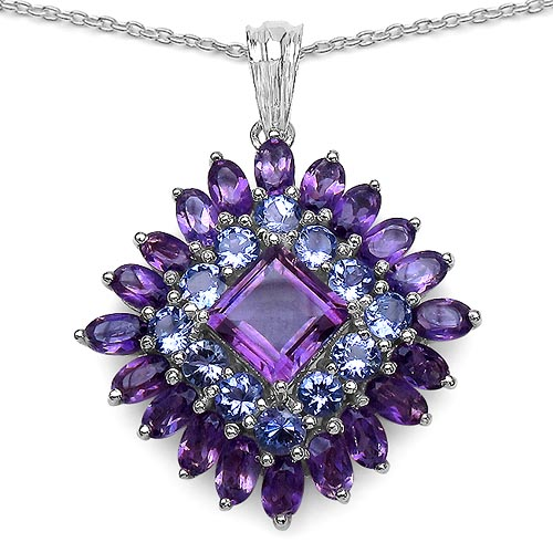 Amethyst:Square/8.00mm + Amethyst:Oval/5x3mm 20/5.4 ctw + Tanzanite:Round/3.50mm 12/2.28 ctw #29385v3