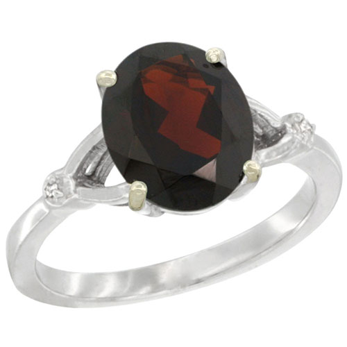 10K White Gold Diamond Natural Garnet Ring Oval 10x8mm, sizes 5-10 #15285v3