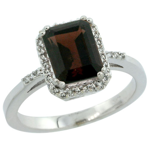 10K White Gold Diamond Natural Garnet Ring Emerald-cut 8x6mm, sizes 5-10 #15300v3
