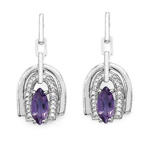 Amethyst:Marquise/10x5mm 2/2.08 ctw + Topaz White:Round/0.90mm 40/0.20 ctw #29259v3