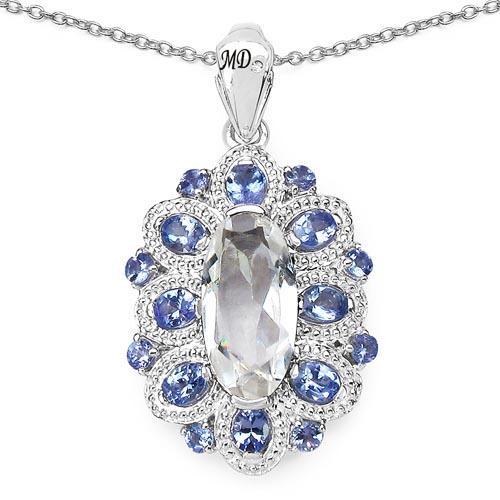 Quartz Crystal:Oval/16x8mm 1/4.17 ctw + Tanzanite:Oval/4x3mm 8/1.36 ctw + Tanzanite:Round/2.50mm 8/0.56 ctw + Diamond White:Round/0.90mm 1/0.01 ctw #33647v3