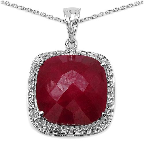 Ruby:Cushion/ 16.00mm 1 /12.75 ctw + Topaz White:Round/0.90mm 52 /0.26 ctw #29434v3