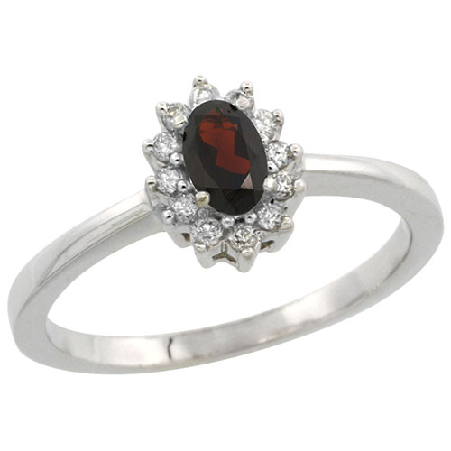 10k White Gold Natural Garnet Ring Oval 5x3mm Diamond Halo, sizes 5-10 #15289v3