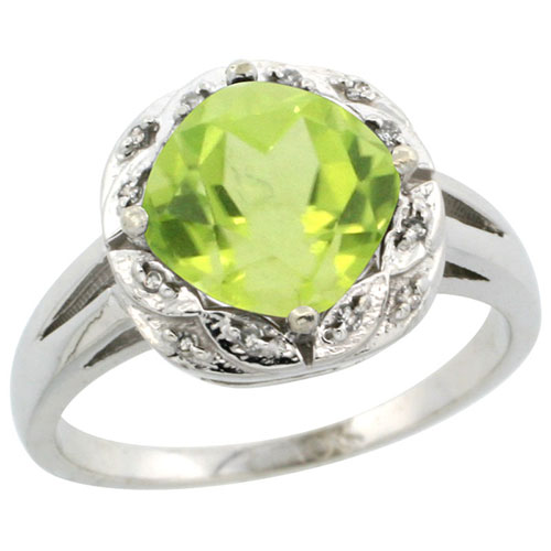 10k White Gold Natural Peridot Ring Cushion-cut 8x8mm Diamond Halo, sizes 5-10 #15349v3