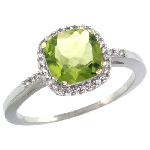 10K White Gold Diamond Natural Peridot Ring Cushion-cut 7x7mm, sizes 5-10 #15348v3