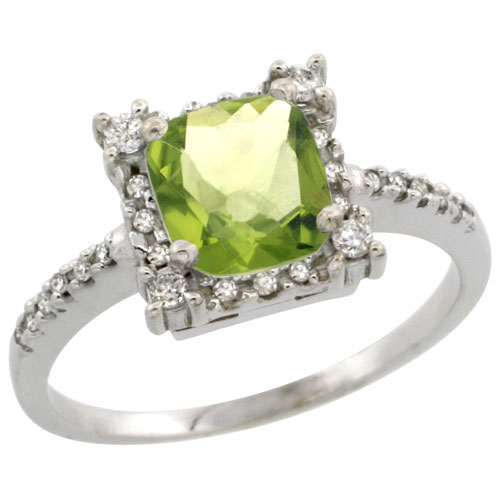 10k White Gold Natural Peridot Ring Cushion-cut 6x6mm Diamond Halo, sizes 5-10 #15347v3