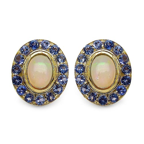 Opal:Cab Oval/7x5mm 2/1.25cts + Tanzanite:Round/2.00mm 30/0.90cts #33539v3
