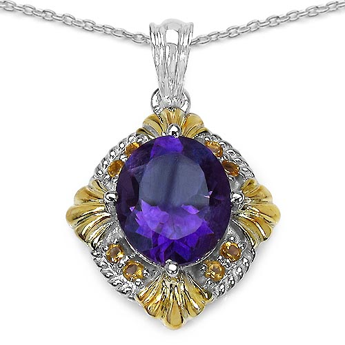 Amethyst:Oval/13x11mm 1/5.25 ctw + Citrine:Round/2.00mm 8/0.40 ctw #29424v3