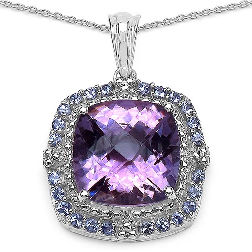 Amethyst:Cushion/14.00mm 1/9.10 ctw + Tanzanite:Round/1.80mm 24/0.72 ctw #29411v3