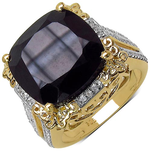 Black Spinel:Cushion/ 14.00mm 1 /13.35 ctw + Topaz White:Round/1.00mm 82 /0.41 ctw #33745v3