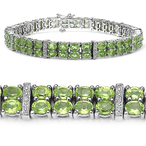 Peridot:Oval/4x3mm 76/15.20 ctw + Topaz White:Round/1.00mm 10/0.05 ctw #33322v3