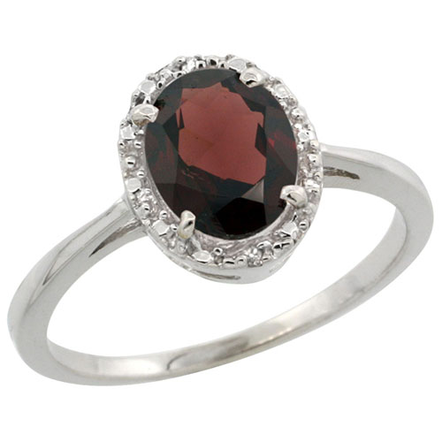 10k White Gold Natural Garnet Ring Oval 8x6 mm Diamond Halo, sizes 5-10 #15288v3