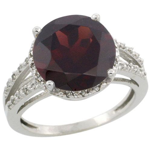 10K White Gold Diamond Natural Garnet Ring Round 11mm, sizes 5-10 #15283v3