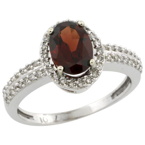 10k White Gold Natural Garnet Ring Oval 8x6mm Diamond Halo, sizes 5-10 #15290v3