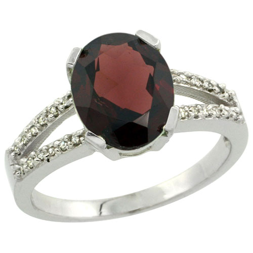 10K White Gold Diamond Halo Natural Garnet Ring Oval 10x8mm, sizes 5-10 #15281v3
